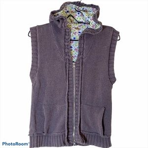 Free People Knit Vest Gray Wmn L Hood Flower Lined